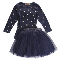 Fashion Baby Girls Party Star Bowknot Tops T Shirt Tulle Skirts Tutu Dress Outfits Set Girls