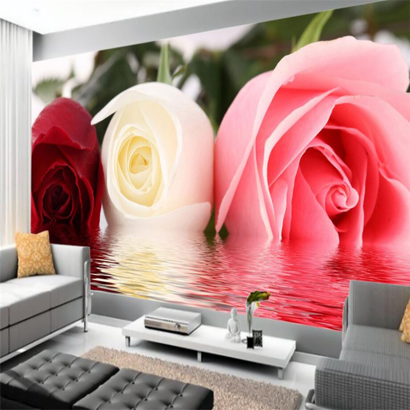 beibehang rose water reflection Custom mural wallpaper for living room TV backdrop 3d photo wall papers home decor flooring