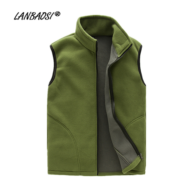 LANBAOSI Spring Autumn Men's Fleece Vest Casual Thermal Warm Zipper Fly Pockets Waistcoat chaleco hombre Plus Size
