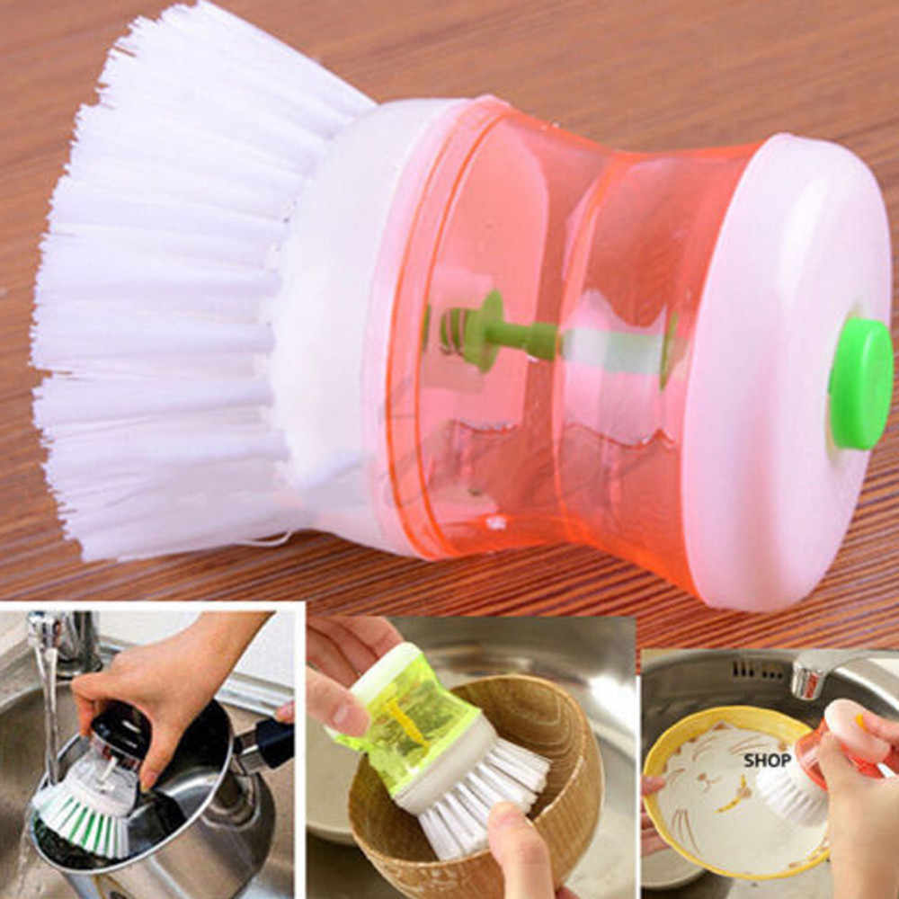 2018 Hot Selling Kitchen Washing Utensils Pot Dish Brush With Washing Up Liquid Soap Dispenser Cepillo para platos#EW