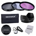 Neewer 58MM Lens Filter Accessory Kit for CANON:UV/CPL/FLD Filter+Tulip Lens Hood+Snap-on Lens Cap+Cap Keeper Leash+Filter Case