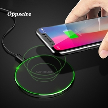 Oppselve Qi Wireless Charger for iPhone Xs X XR 8 10W Fast Wireless Charging Pad For Samsung Galaxy S8 S9 S7 N8 Wireless Charger все цены