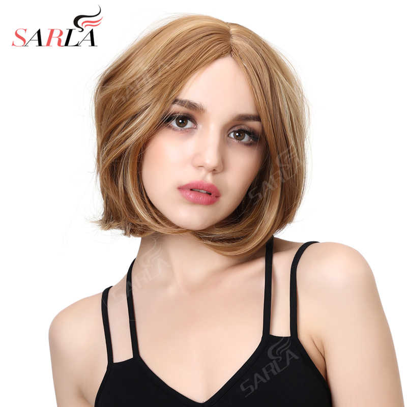 SARLA 14'' Synthetic Short Wig Curly Toupee Women's Hair Resist High Temperature Hair Wigs Fiber Hair Extension SW011