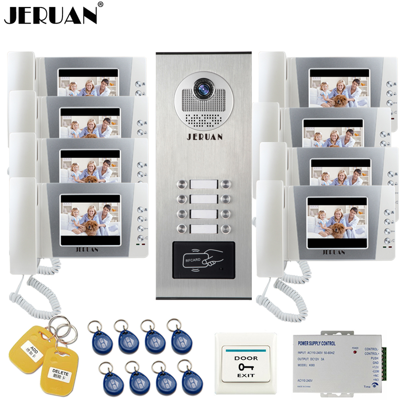 цены JERUAN 4.3 inch LCD Video Intercom Doorbell Door Phone Intercom System 8 Monitor RFID Access Camera for 8 Household Apartment