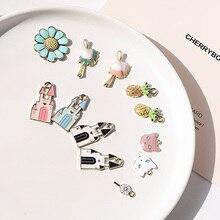cute cartoon alloy drip  pendant pineapple cat castle earrings for women ear material diy handmade jewelry stud accessories