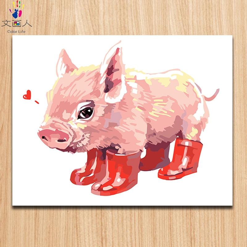 147 Pintura Para Colorear Por Números Lindo Animal Cerdo De Dibujos Animados Usando Zapatos Rojos Objetos Exprés Cancas Práctica De Pintura
