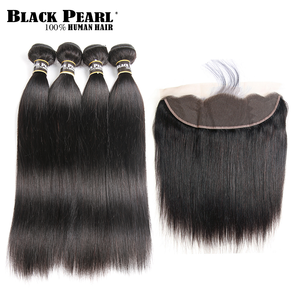 Black Pearl Pre-Colored Lace Frontal Closure with Bundles Brazilian Straight Human Hair 4 Bundles with Closure Non-Remy Hair