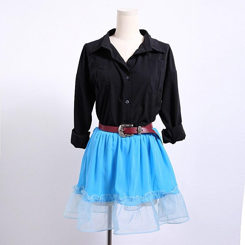 Factory Wholesale (50pcs/lot ) Spring Summer Lady Girl Black Shirt +bule Skirt  Suit  Clothes Set