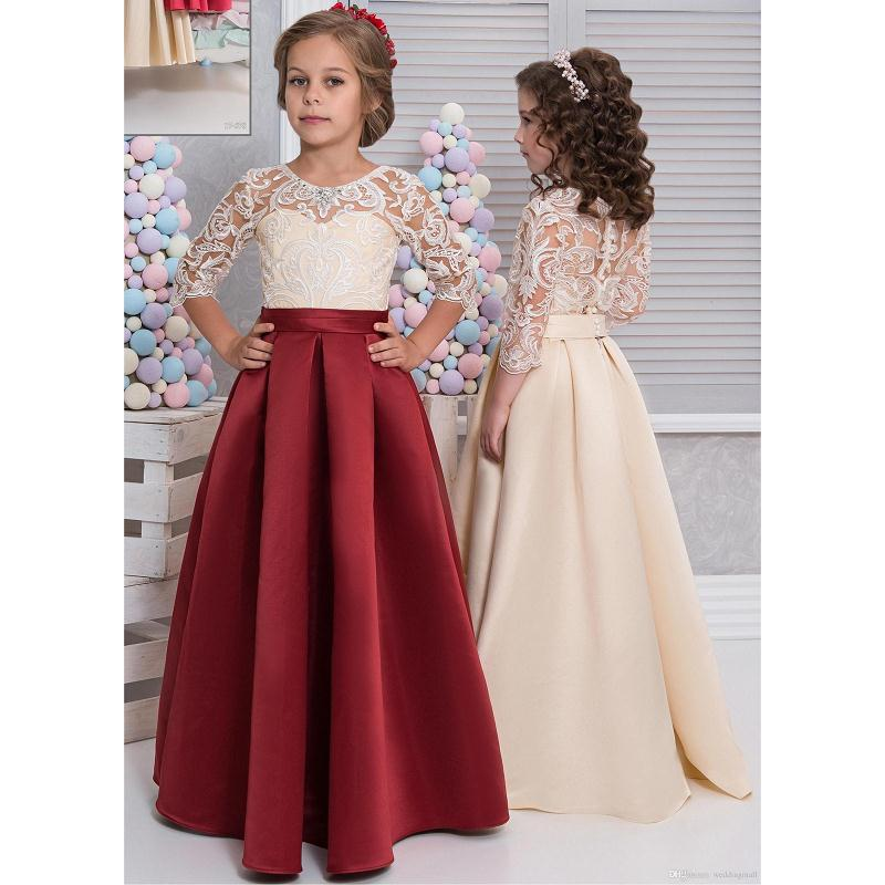 Children Gowns For Wedding: Vintage Arabic 2017 Flower Girl Gowns With Half Sleeves