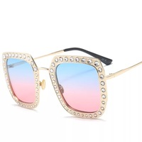 IMAKEFASHION Rhinestone Square Sunglasses Women Top Quality Eyewear Metal Frame Mirror and Gradient Lens JWW367