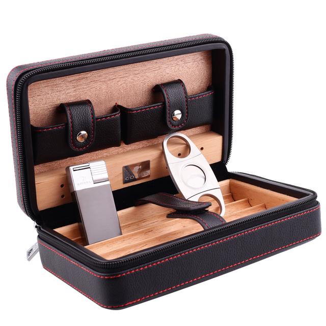 Cedar Wood Humidors Humidification Portable Travel Cigarette Men 4 Pack set