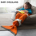 140*70cm kids sleeping bag cartoon nemo kids blanket knitted crochet mermaid tail blanket kids throw bed blanket