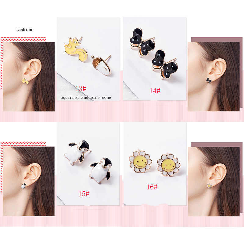 Enamel Cartoon Animal Fruit Earrings Cute Ladybug Penguin DKGda Earrings for Women Party Birthday Earrings Jewelry Gift