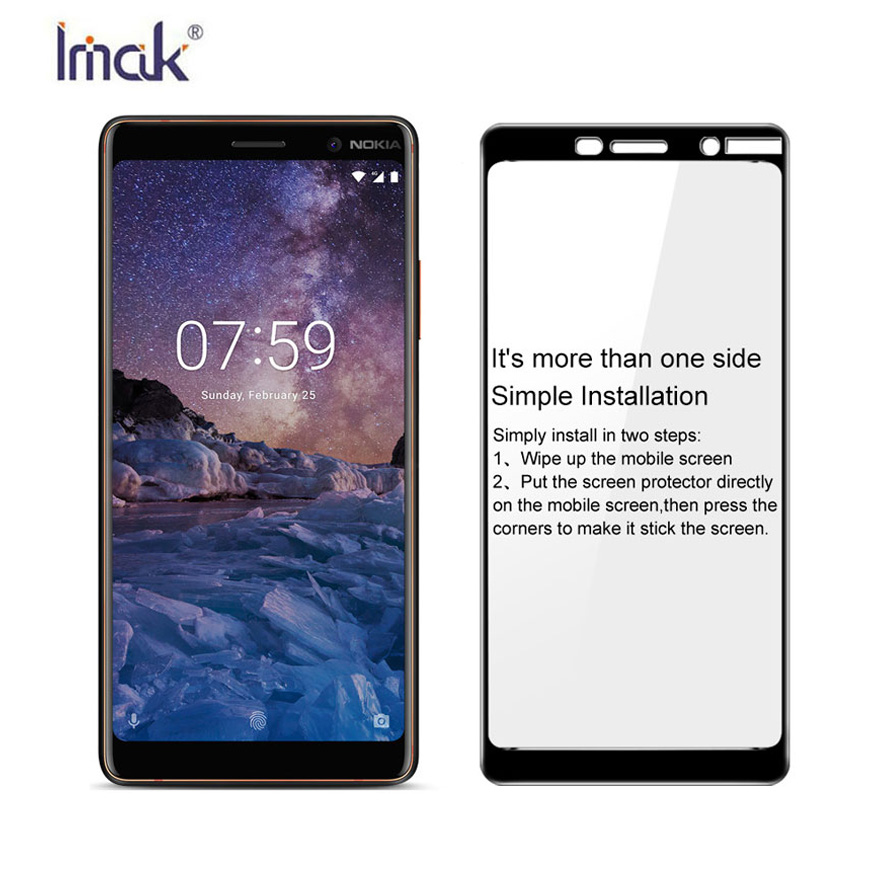 IMAK sFor Nokia 7 Plus Tempered Glass for Nokia7 Plus Glass Full Cover Protective Film Scr