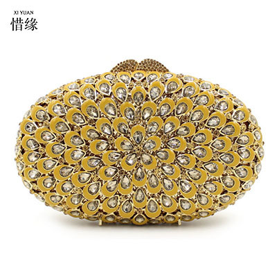 XI YUAN BRAND women High-end luxury Drip wax diamonds dinner bag Hollow crystal Bridesmaid Handbags Party Purse Wedding Bag gold