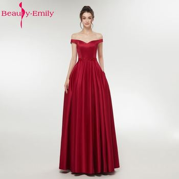 Beauty Emily Long Wine Red Evening Dresses 2019 Zipper V-Neck Floor-Length Formal Party Evening Prom Dresses Gowns