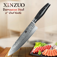XINZUO 8 Inch Chef Knife Japanese Damascus Kitchen Knife Woman Chef Knife Color Wood Handle High