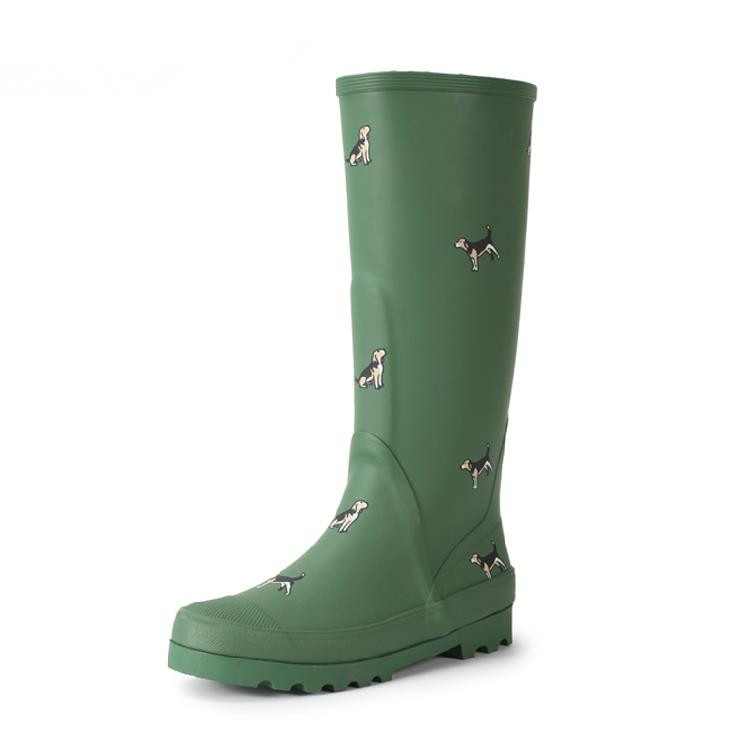 Brand New Women Fashion Rubber Rain Boots Anti Slip Animals Print Rainboots Knee High Woman