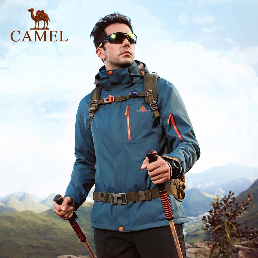 CAMEL Men 3 in 1 Hiking Jacket Outdoor Warm Waterproof Windbreaker Camping Hiking Climbing Fishing Coat