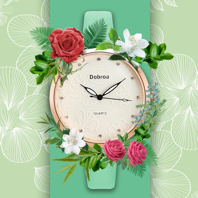 Woman Fashion Leather Band Analog Quartz Round Wrist Watch Watches 09.27