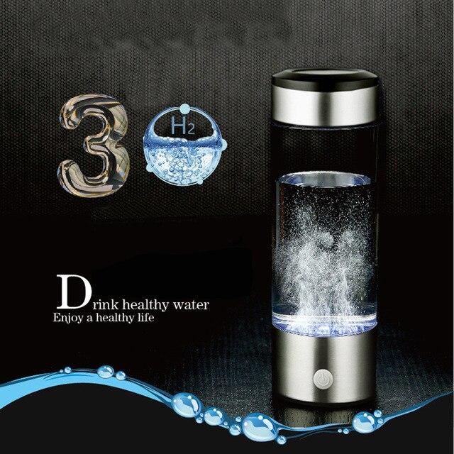 380ml Hydrogen Water Generator Rechargeable Portable Water Ionizer Bottle Electrolysis Alkaline Hydrogen Rich Antioxidant Water