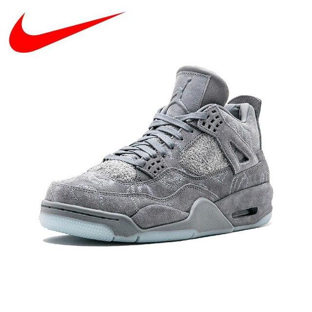 Original Nike Air Jordan 4 X Kaws Cool Gray Aj4 Suede Basketball
