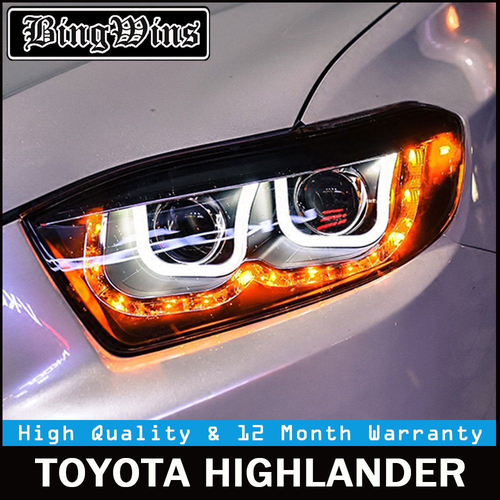 Car Styling for Toyota Highlander Headlights 2009 2010 2011 New Kluger LED Headlight drl Lens Double Beam H7 HID Xenon hireno headlamp for 2003 2009 toyota land cruiser prado headlight assembly led drl angel lens double beam hid xenon 2pcs