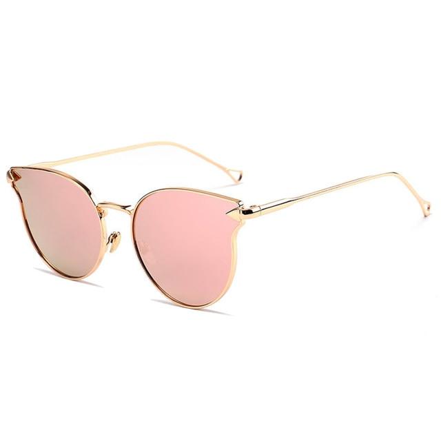 Coodaysuft marca designer rose gold mulheres cat eye óculos de sol do  espelho do metal pad nariz óculos de sol do vintage cateye oferecem hoje 964d5dd558