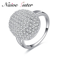 Real 925 Sterling Silver Fashion Silver Color Party Rings For Women Clear CZ Full Paved Engagement