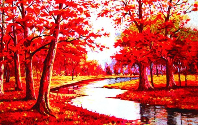 Free shipping middle size world famous picture,fabric decoration picture,Red maple tree,gobelin tapestry