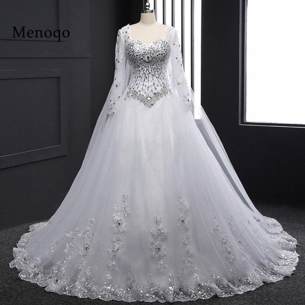Échantillon réel 2018 Nouveau Bandage Tube Top Cristal De Luxe Robe De Mariée 2018 robe De Mariée robes de mariée À manches Longues DB23002