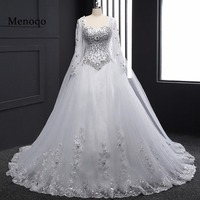 Real Sample 2019 New Bandage Tube Top Crystal Luxury Wedding Dress 2019 Bridal gown wedding dresses Long sleeve DB23002