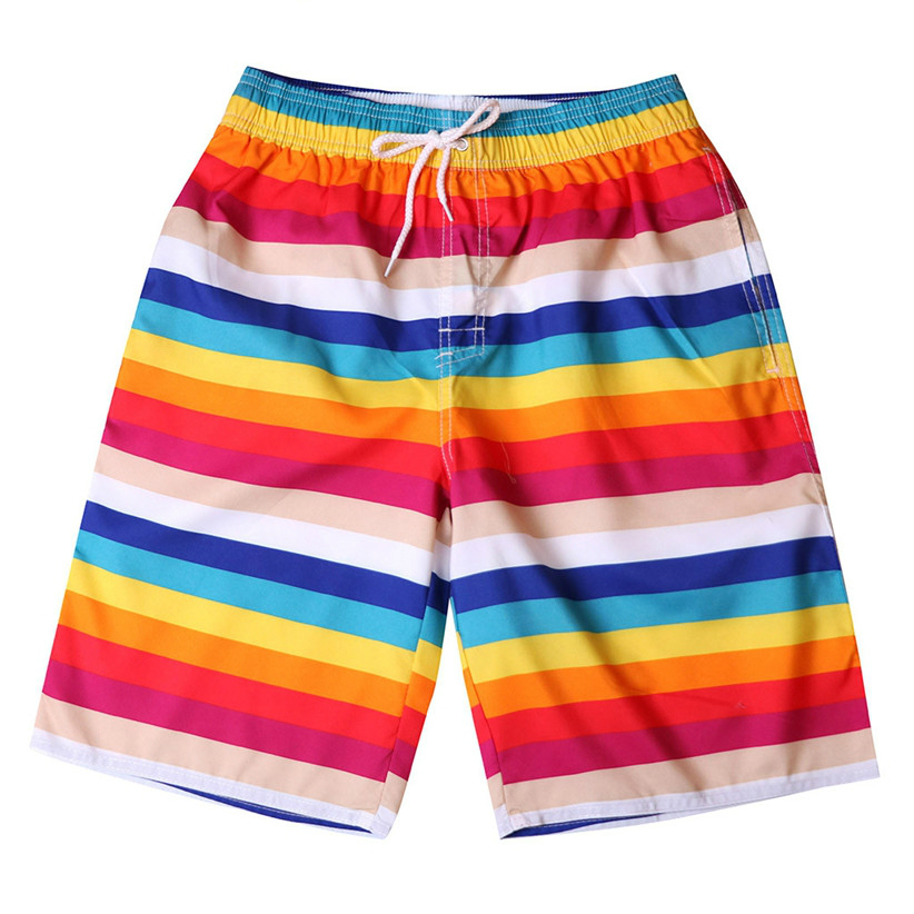 Newly Design Rainbow Striped Men Board Shorts Quick Dry Summer Beach 15 Color Choice Man Straight Drawstring Shorts