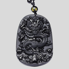 Drop Shipping Black Obsidian Dragon Necklace Pendant Jade Jewelry Fine