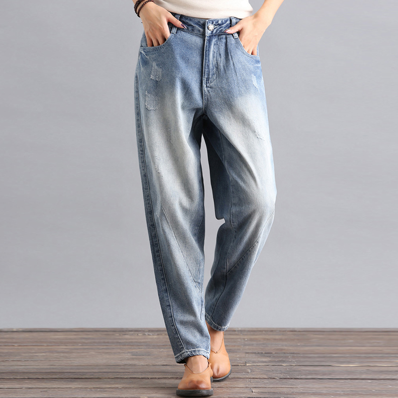 Azul Mujer Bym0901 Nueva Pantalones Para Otoño Algodón Moda De Plus Denim Jeans Mezcla Primavera Harem Tamaño Casual Capris Y qxSUtt