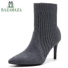 6b3e88de85a RAZAMAZA de cuero Real de las señoras lana de la marca de tobillo botas de  Mujeres