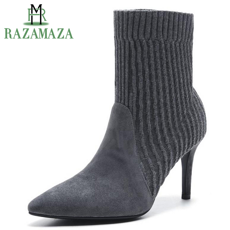 RAZAMAZA Ladies Real Leather Brand Wool Knit Ankle Boots WomenS High Heel Winter Boots Pointed Toe Slip On Shoes Size 34-39RAZAMAZA Ladies Real Leather Brand Wool Knit Ankle Boots WomenS High Heel Winter Boots Pointed Toe Slip On Shoes Size 34-39