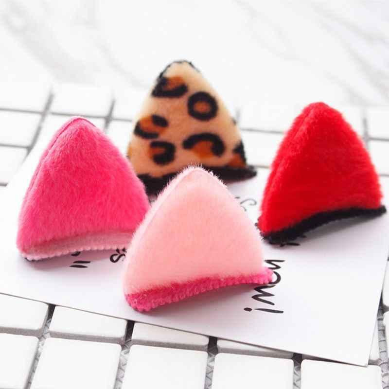 2 unids/par niñas bebés lindos dibujos animados 3D orejas de gato pinzas para el cabello Color caramelo leopardo estampado horquillas de felpa mullido Snap barrette
