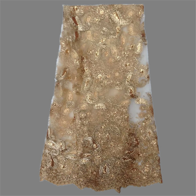 Wonderful gold embroidery French tulle lace fabric for lady  African net lace for evening dress  DN7-6 multi color on sale