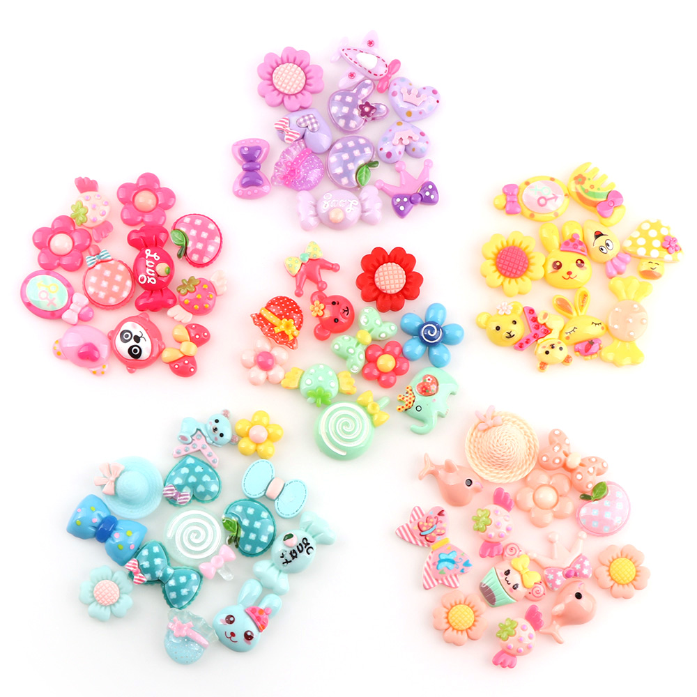 30PC Pink Blue Yellow  Purple Sweet Kawaii Cartoon 30pcs Flatback Resin Cabochon Jewelry Crafts For Hair Ornaments Accessories