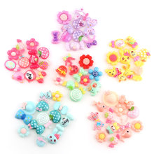 30PC Pink Blue Yellow Purple Sweet Kawaii Cartoon 30pcs Flatback Resin Cabochon Jewelry Crafts For Hair Ornaments Accessories(China)