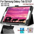 Смарт-чехол из полиуретановой кожи высокого качества для Samsung Galaxy Tab S2 8 0 T710 T713 T715 T719  чехол для планшета + Защитная пленка + ручка