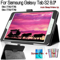 Top Qualität Standplatz-intelligenter Pu-leder-abdeckung für Samsung Galaxy Tab S2 8 0 T710 T713 T715 T719 Tablet Fall + Free Screen Protector + Stift