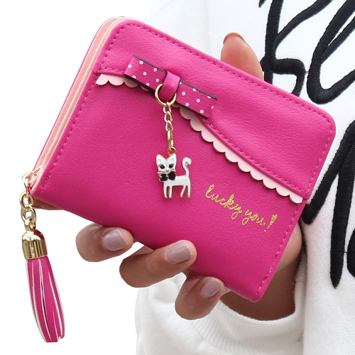 Women Wallets Cute Cat Lady Purses Short Bow Coin Purse Girls Moneybags Tassels Zipper Wallet Pocket Cards ID Holder Female Bags luxary women wallets lady purses cards id holder handbags moneybags long coin purse good quality female casual fold wallet bags