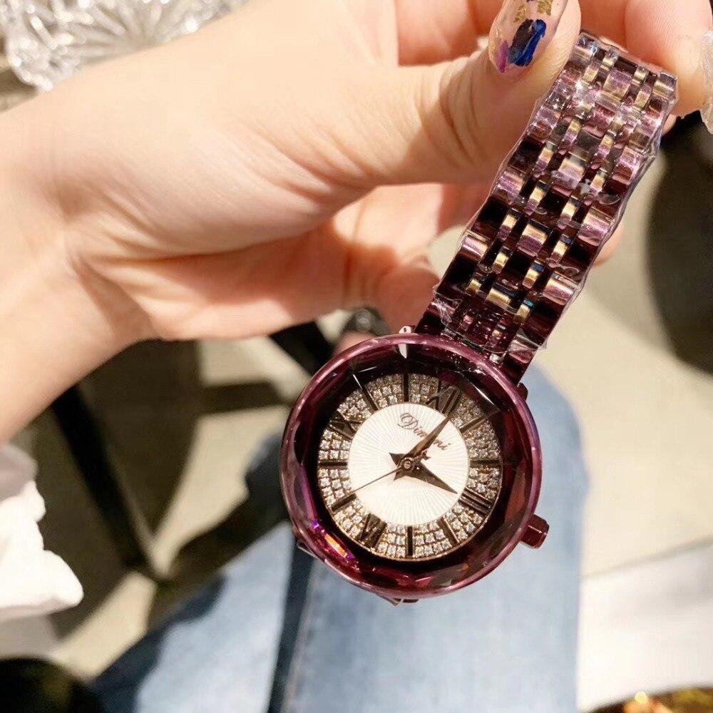 Mode nouvelle couleur violet femmes strass montres Anti décoloration neutre Designer Vogue filles Bracelet Montre en plastique cadre Montre