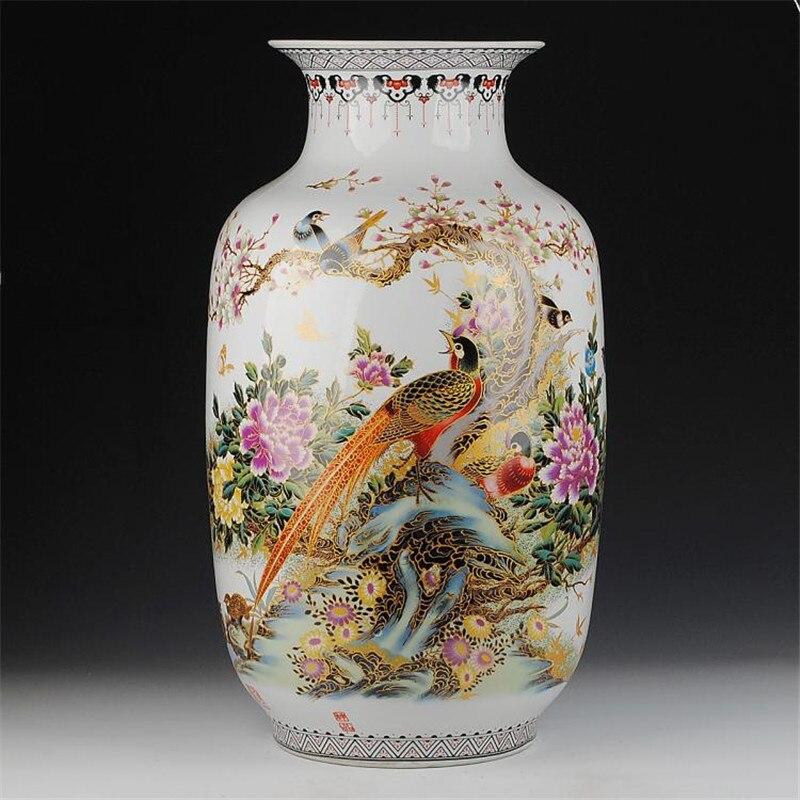 Jingdezhen 62 cm di Altezza Vaso di Pavimento In Ceramica Oro Fagiano Vaso di Manufatti Per L'arredamento di Casa Salotto Grandi Vasi Da Terra