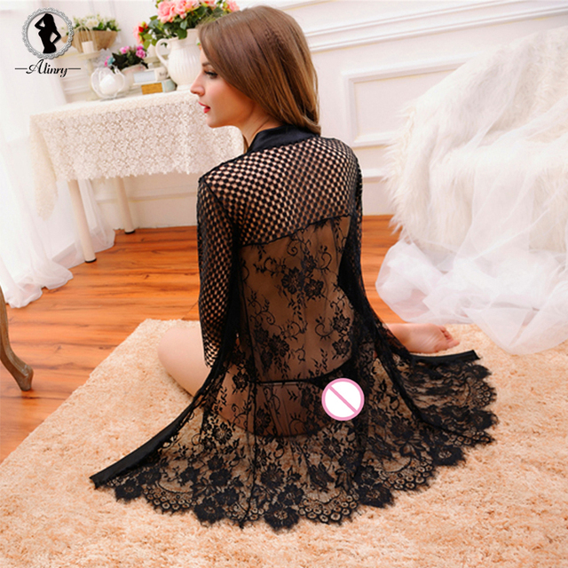 2017 New sexy lingerie hot black rose lace Mesh hollow out babydoll sexy chemise perspective erotic lingerie robe sexy underwear