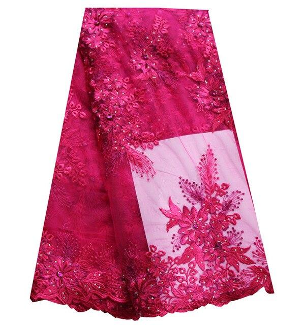 a3bf006d3f5 Livraison gratuite tulle dentelle tissu fushia rose couleur unie africain  nigérian dentelle tissus pour robes de