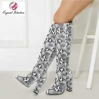 Original Absicht Stilvolle Schlange Knie-hohe Stiefel Frauen High Heels Chunk Heels Botas Mujer Winter Elegante Schuhe Frau Große größe