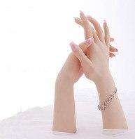 Бесплатная Доставка! Высокий уровень Реалистичные Женский мягкий силиконовый гибкий Манекен рук кольцо, браслет и перчатки Дисплей